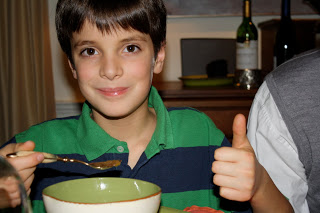 """William gives a """"thumbs up!"""" to some soup."""
