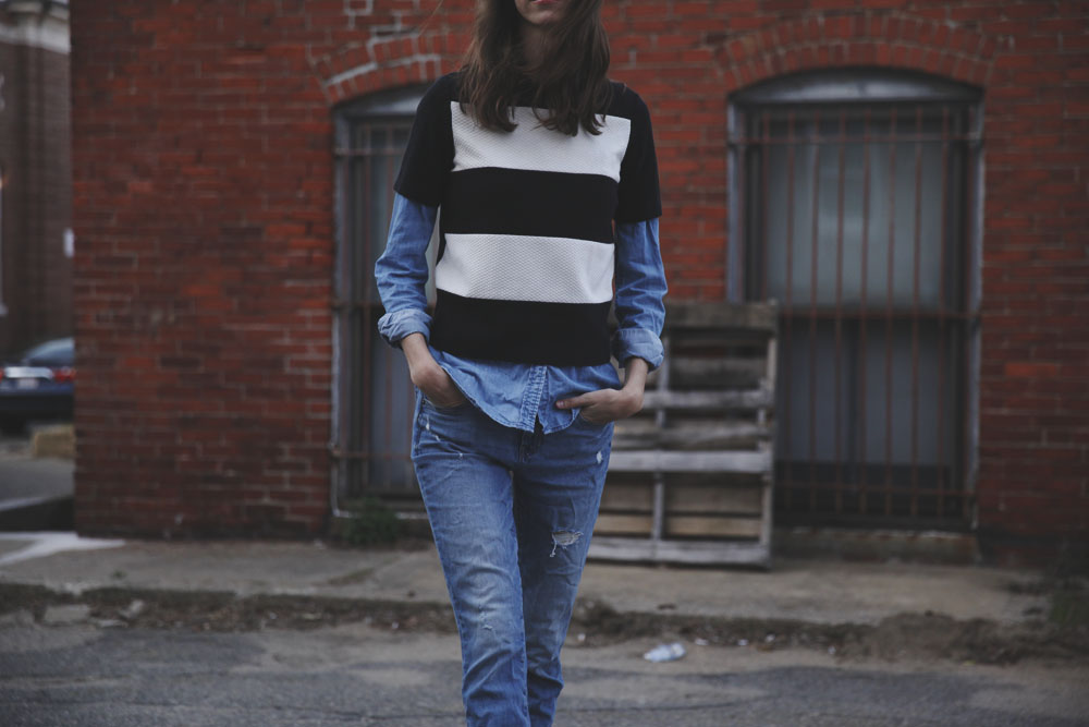 black and white and denim all over.